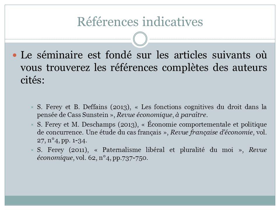 Références indicatives Le séminaire est fondé sur les articles suivants où vous trouverez les références complètes des auteurs cités: S. Ferey et B. D