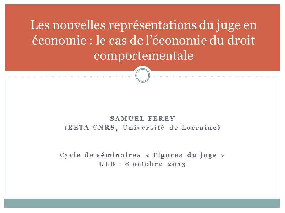 SAMUEL FEREY (BETA-CNRS, Université de Lorraine) Cycle de séminaires « Figures du juge » ULB - 8 octobre 2013 Les nouvelles représentations du juge en