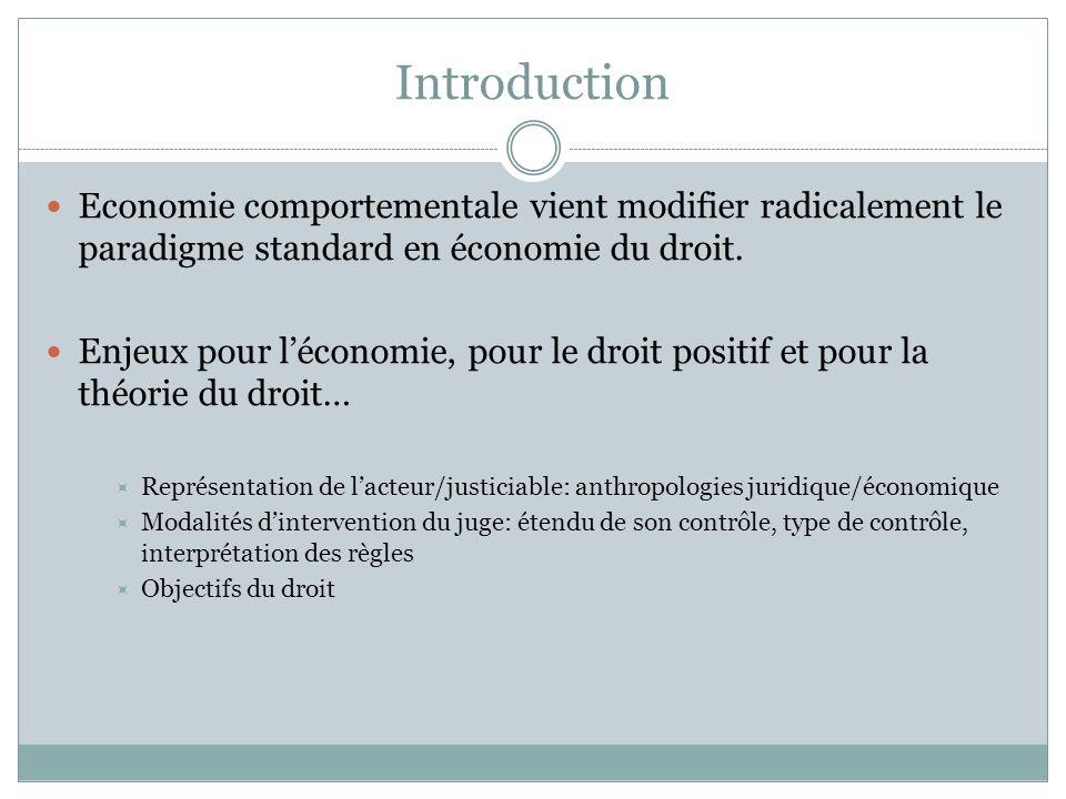Introduction Economie comportementale vient modifier radicalement le paradigme standard en économie du droit. Enjeux pour léconomie, pour le droit pos