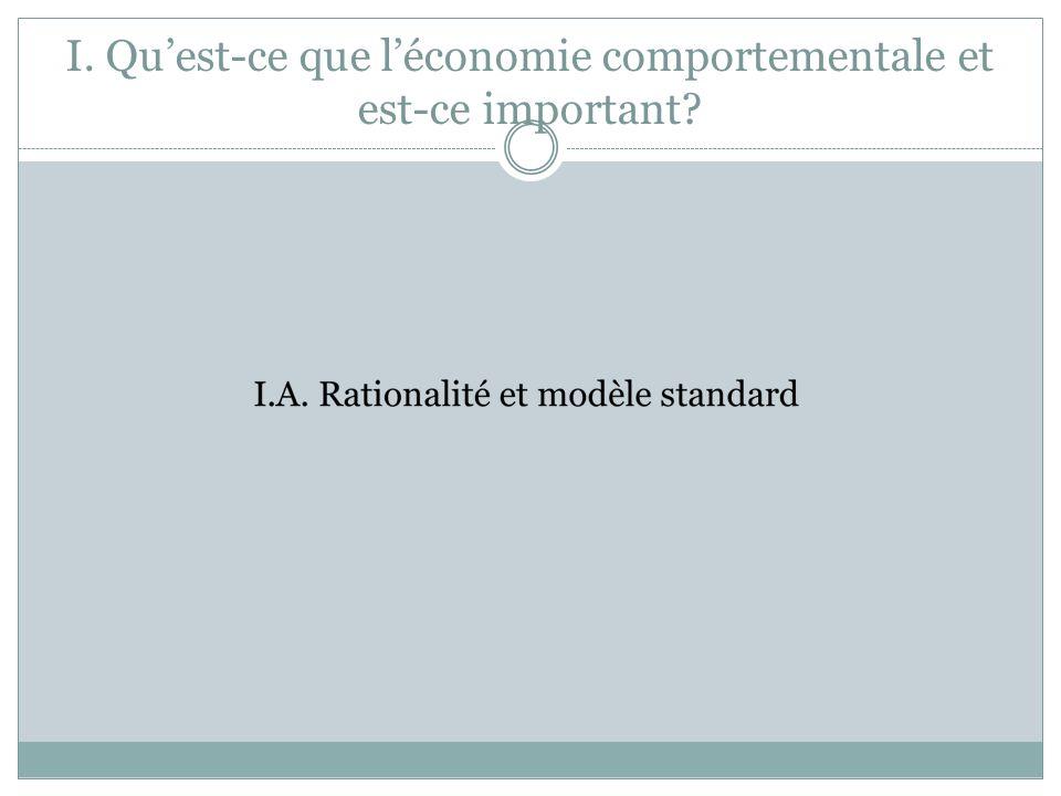 I. Quest-ce que léconomie comportementale et est-ce important?