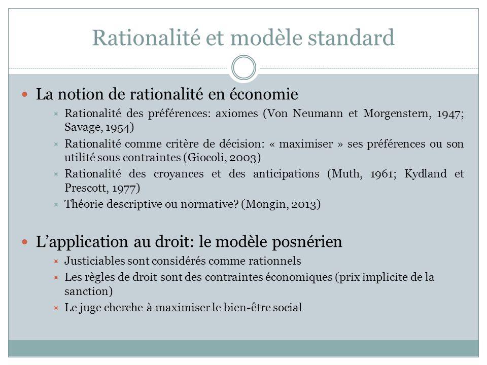 Rationalité et modèle standard Exemple: le modèle de responsabilité civile unilatérale Niveau de précaution: x; coût de précaution A(x) Montant du dommage: D Probabilité du dommage p(x) Fonction de coût social: FCS = A(x) + p(x).D Il existe un niveau de précaution x* qui minimise la FCS Un planificateur omniscient et bienveillant chercherait à implémenter x* Un système de marché parfait amènerait au même résultat (théorème de Coase) …Mais ni lun, ni lautre nexiste!