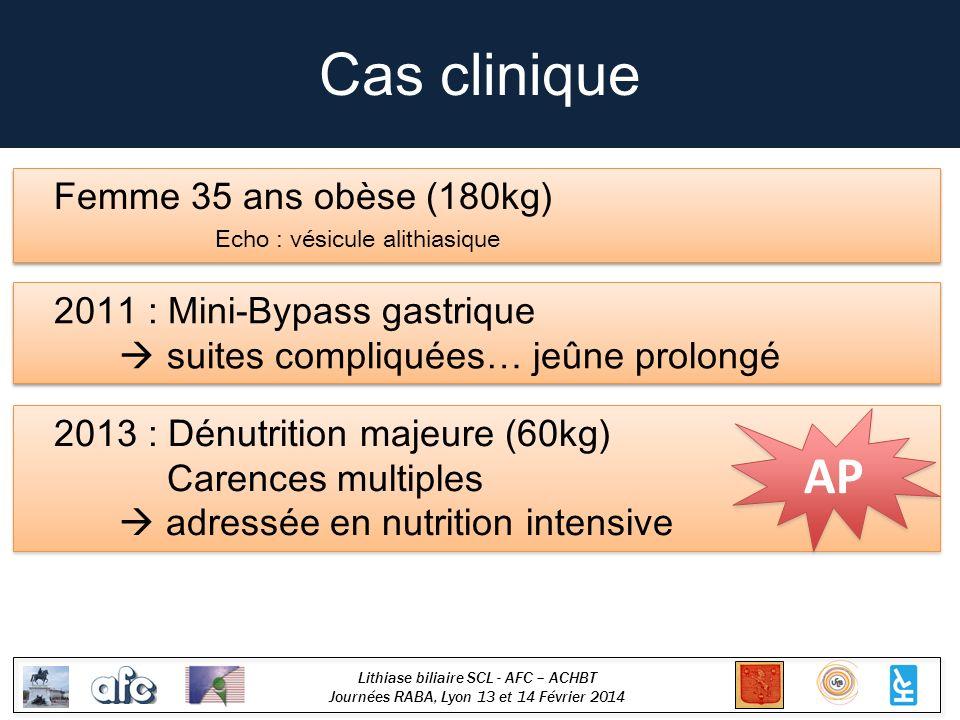 Lithiase biliaire SCL - AFC – ACHBT Journées RABA, Lyon 13 et 14 Février 2014 Cas clinique Femme 35 ans obèse (180kg) Echo : vésicule alithiasique Fem