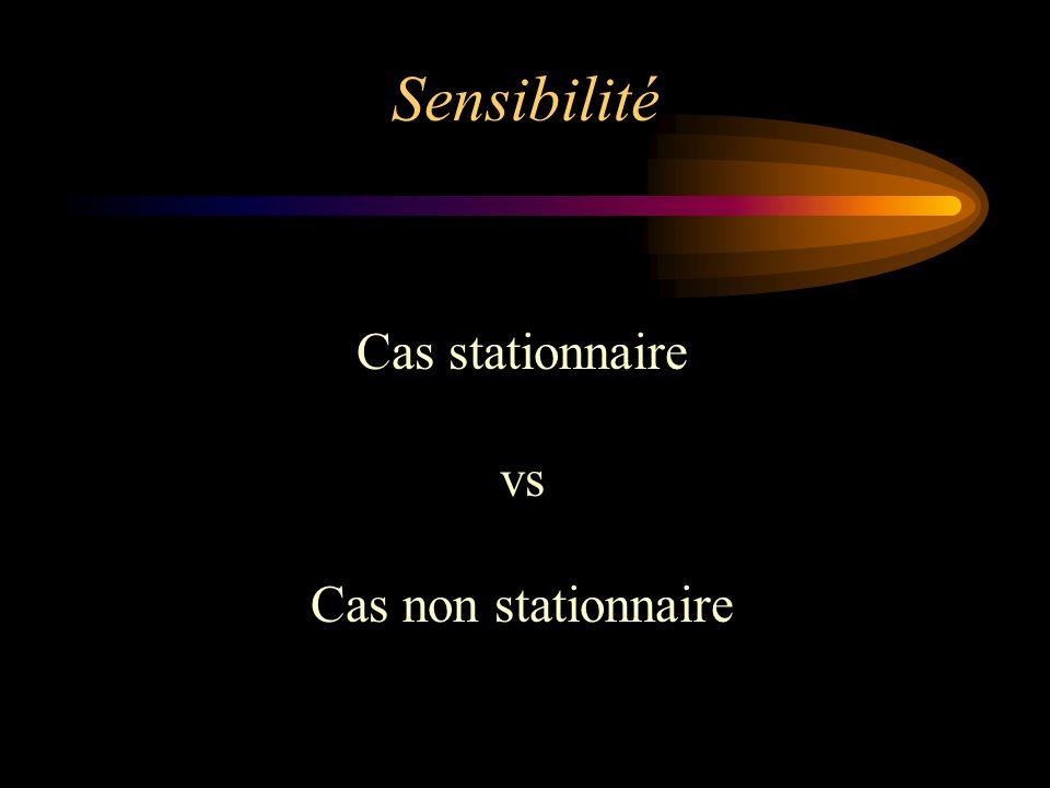 Sensibilité Cas stationnaire vs Cas non stationnaire