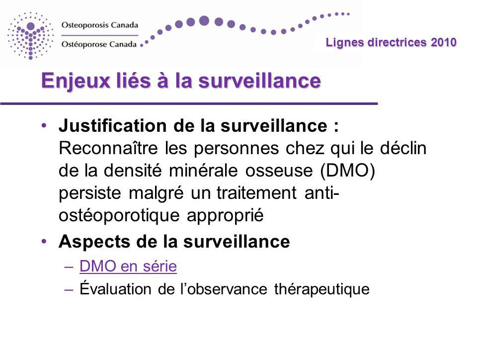 2010 Guidelines Lignes directrices 2010 Enjeux liés à la surveillance Justification de la surveillance : Reconnaître les personnes chez qui le déclin