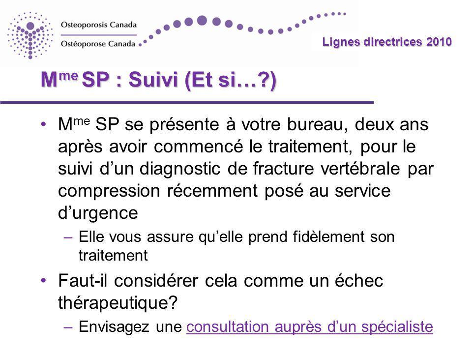 2010 Guidelines Lignes directrices 2010 M me SP : Suivi (Et si…?) M me SP se présente à votre bureau, deux ans après avoir commencé le traitement, pou