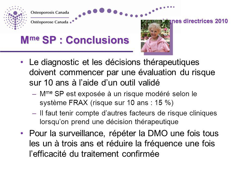 2010 Guidelines Lignes directrices 2010 M me SP : Conclusions Le diagnostic et les décisions thérapeutiques doivent commencer par une évaluation du risque sur 10 ans à laide dun outil validé –M me SP est exposée à un risque modéré selon le système FRAX (risque sur 10 ans : 15 %) –Il faut tenir compte dautres facteurs de risque cliniques lorsquon prend une décision thérapeutique Pour la surveillance, répéter la DMO une fois tous les un à trois ans et réduire la fréquence une fois lefficacité du traitement confirmée