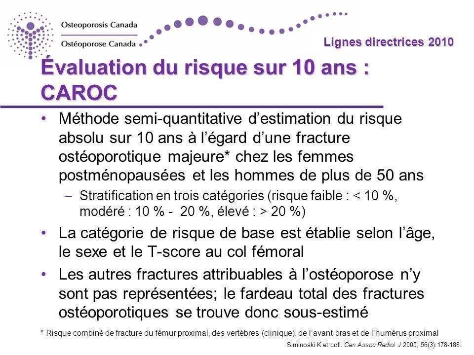 2010 Guidelines Lignes directrices 2010 Évaluation du risque sur 10 ans : CAROC Méthode semi-quantitative destimation du risque absolu sur 10 ans à lé