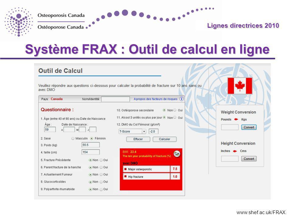 2010 Guidelines Système FRAX : Outil de calcul en ligne www.shef.ac.uk/FRAX.