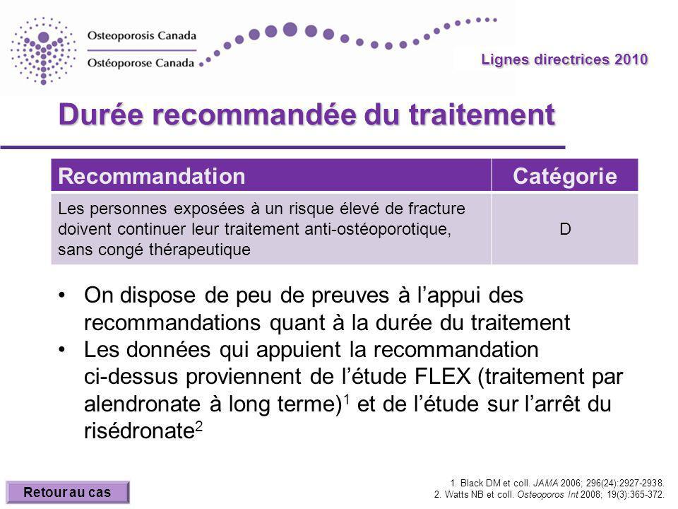 2010 Guidelines Durée recommandée du traitement RecommandationCatégorie Les personnes exposées à un risque élevé de fracture doivent continuer leur traitement anti-ostéoporotique, sans congé thérapeutique D On dispose de peu de preuves à lappui des recommandations quant à la durée du traitement Les données qui appuient la recommandation ci-dessus proviennent de létude FLEX (traitement par alendronate à long terme) 1 et de létude sur larrêt du risédronate 2 1.