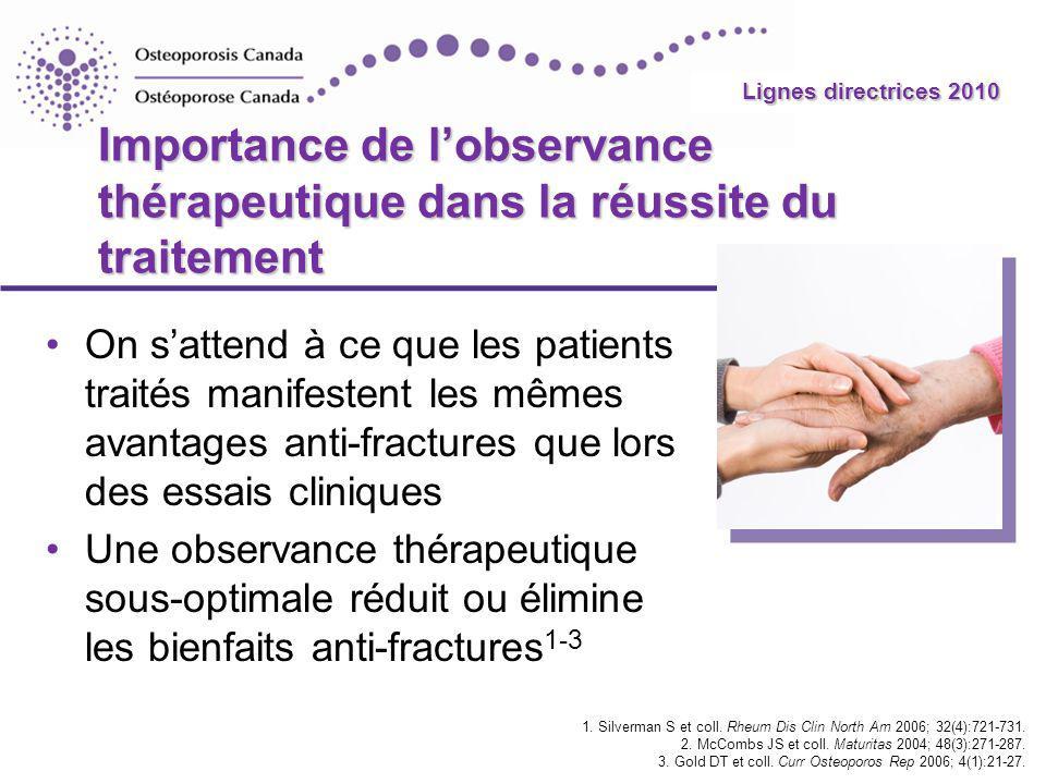 2010 Guidelines Lignes directrices 2010 Importance de lobservance thérapeutique dans la réussite du traitement On sattend à ce que les patients traité