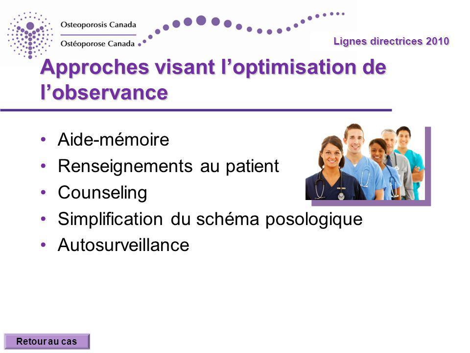 2010 Guidelines Lignes directrices 2010 Approches visant loptimisation de lobservance Aide-mémoire Renseignements au patient Counseling Simplification