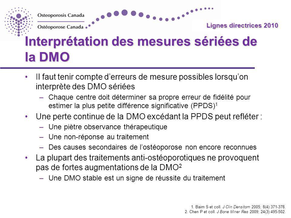 2010 Guidelines Lignes directrices 2010 Interprétation des mesures sériées de la DMO Il faut tenir compte derreurs de mesure possibles lorsquon interp