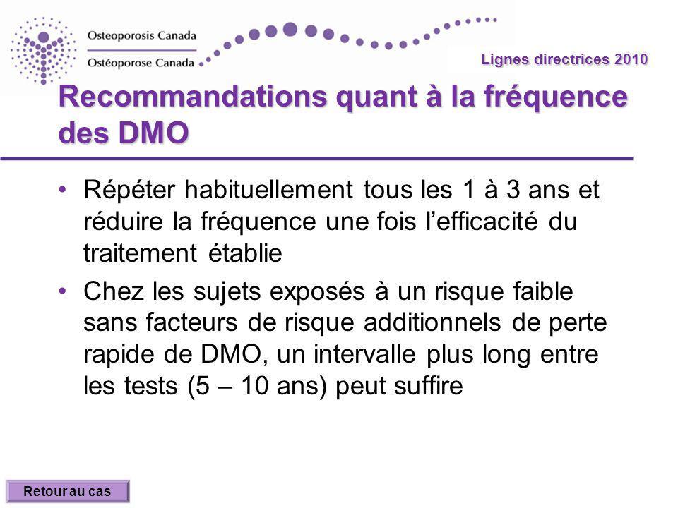 2010 Guidelines Lignes directrices 2010 Recommandations quant à la fréquence des DMO Répéter habituellement tous les 1 à 3 ans et réduire la fréquence