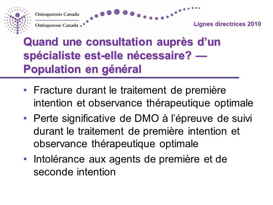 2010 Guidelines Lignes directrices 2010 Quand une consultation auprès dun spécialiste est-elle nécessaire? Population en général Fracture durant le tr