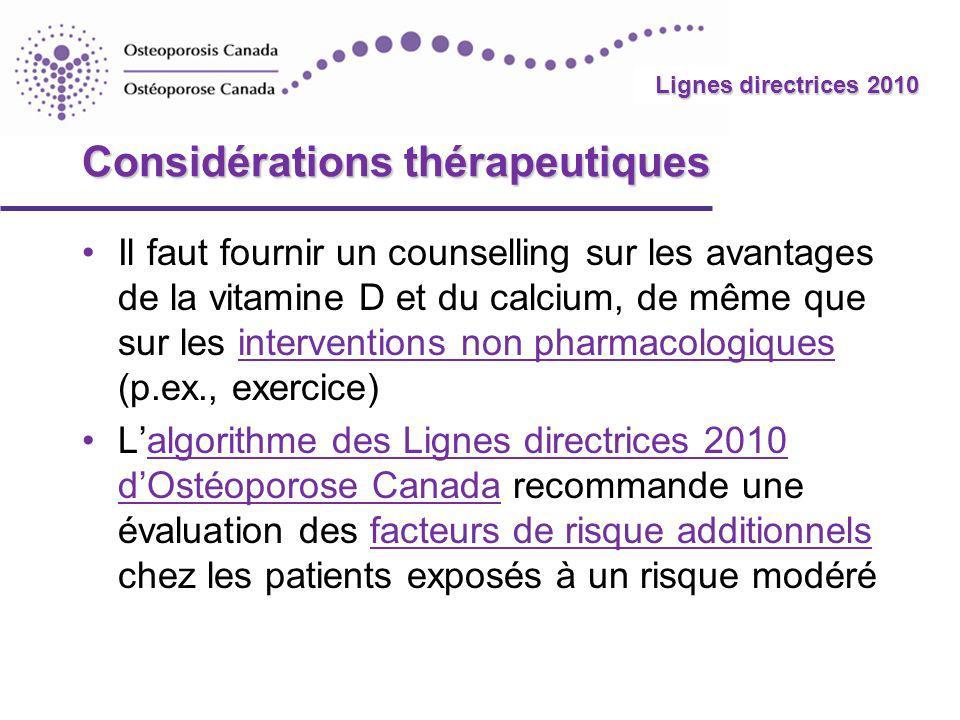2010 Guidelines Lignes directrices 2010 Considérations thérapeutiques Il faut fournir un counselling sur les avantages de la vitamine D et du calcium,
