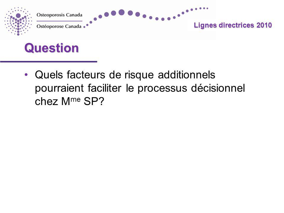 2010 Guidelines Lignes directrices 2010 Risque modéré (Risque de fracture sur 10 ans 10 % - 20 %) La radiographie thoracolombaire latérale (T4-L4) ou lAFV peuvent guider la prise de décision en révélant des fractures vertébrales Facteurs qui justifient que lon envisage la pharmacothérapie : Fracture(s) vertébrale(s) additionnelle(s) observée(s) à lAFV ou à la radiographie latérale de la colonne vertébrale Antécédents de fracture du poignet chez des personnes de plus de 65 ans ou dont le T-score est < -2,5 T-score de la colonne lombaire de loin inférieur au T-score du col fémoral Perte osseuse rapide Hommes sous traitement androgénosuppressif pour un cancer de la prostate Femmes sous traitement par inhibiteur de laromatase pour un cancer du sein Emploi à long terme ou répété de corticostéroïdes systémiques (par voie orale ou parentérale) ne répondant pas aux critères classiques demploi de corticostéroïdes systémiques récent ou prolongé Chutes récurrentes définies par 2 chutes ou plus au cours des 12 derniers mois Autres problèmes de santé étroitement liés à lostéoporose, à la perte osseuse rapide ou aux fractures Résultats probants avec la pharmaco- thérapie Répéter la DMO après 1 à 3 ans et réévaluer le risque Modèle intégratif de prise en charge (suite) Retour au cas