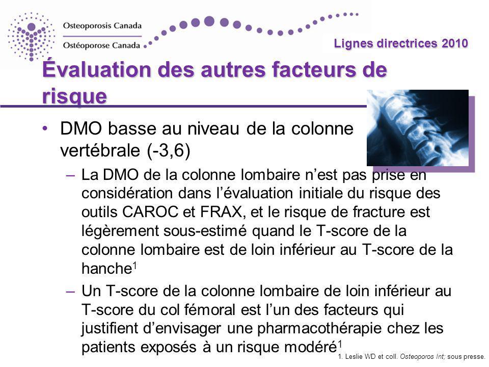 2010 Guidelines Lignes directrices 2010 Évaluation des autres facteurs de risque DMO basse au niveau de la colonne vertébrale (-3,6) –La DMO de la col