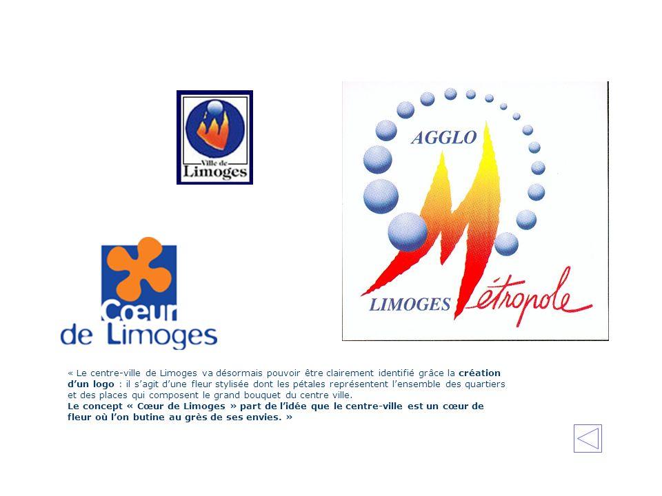 « Le centre-ville de Limoges va désormais pouvoir être clairement identifié grâce la création dun logo : il sagit dune fleur stylisée dont les pétales