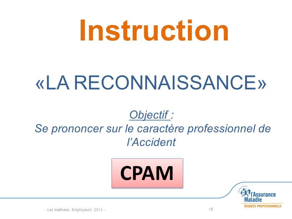 18 Instruction «LA RECONNAISSANCE» Objectif : Se prononcer sur le caractère professionnel de lAccident CPAM - Les Matinées Employeurs 2013 -