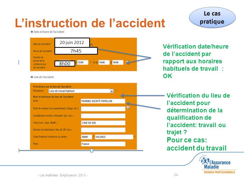 Linstruction de laccident 24 Vérification date/heure de laccident par rapport aux horaires habituels de travail : OK Vérification du lieu de laccident pour détermination de la qualification de laccident: travail ou trajet .