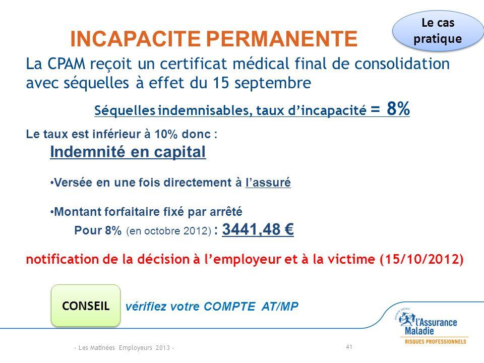 INCAPACITE PERMANENTE La CPAM reçoit un certificat médical final de consolidation avec séquelles à effet du 15 septembre Séquelles indemnisables, taux dincapacité = 8% 41 Le taux est inférieur à 10% donc : Indemnité en capital Versée en une fois directement à lassuré Montant forfaitaire fixé par arrêté Pour 8% (en octobre 2012) : 3441,48 notification de la décision à lemployeur et à la victime (15/10/2012) vérifiez votre COMPTE AT/MP Le cas pratique CONSEIL - Les Matinées Employeurs 2013 -