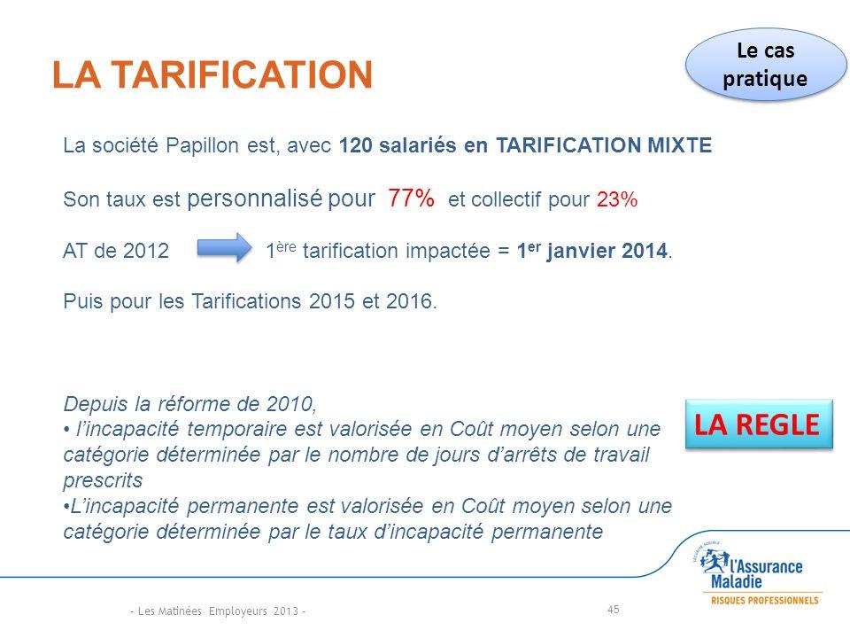 LA TARIFICATION 45 LA REGLE La société Papillon est, avec 120 salariés en TARIFICATION MIXTE Son taux est personnalisé pour 77% et collectif pour 23% AT de 2012 1 ère tarification impactée = 1 er janvier 2014.