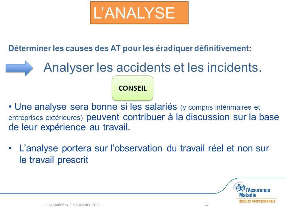 55 Déterminer les causes des AT pour les éradiquer définitivement: Analyser les accidents et les incidents.