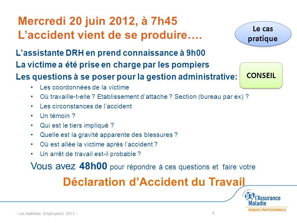 Mercredi 20 juin 2012, à 7h45 Laccident vient de se produire….