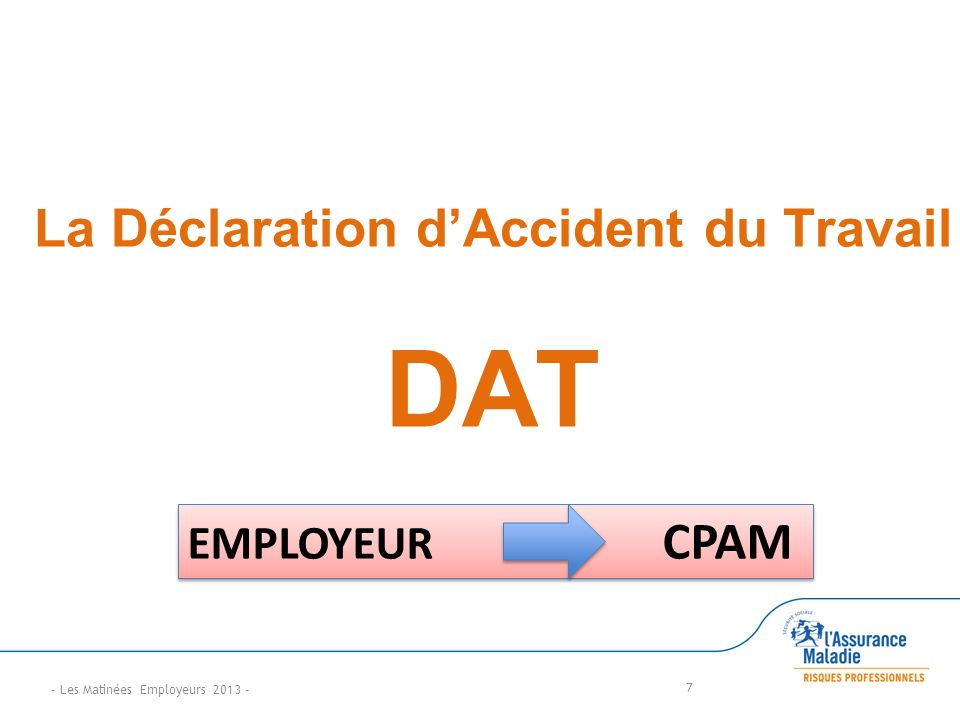 La Déclaration dAccident du Travail DAT 7 EMPLOYEUR CPAM - Les Matinées Employeurs 2013 -