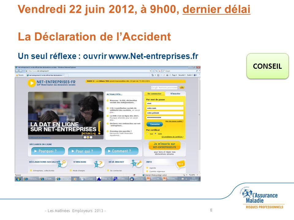 Vendredi 22 juin 2012, à 9h00, dernier délai La Déclaration de lAccident Un seul réflexe : ouvrir www.Net-entreprises.fr 8 CONSEIL - Les Matinées Employeurs 2013 -
