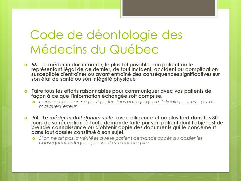 Code de déontologie des Médecins du Québec 56.