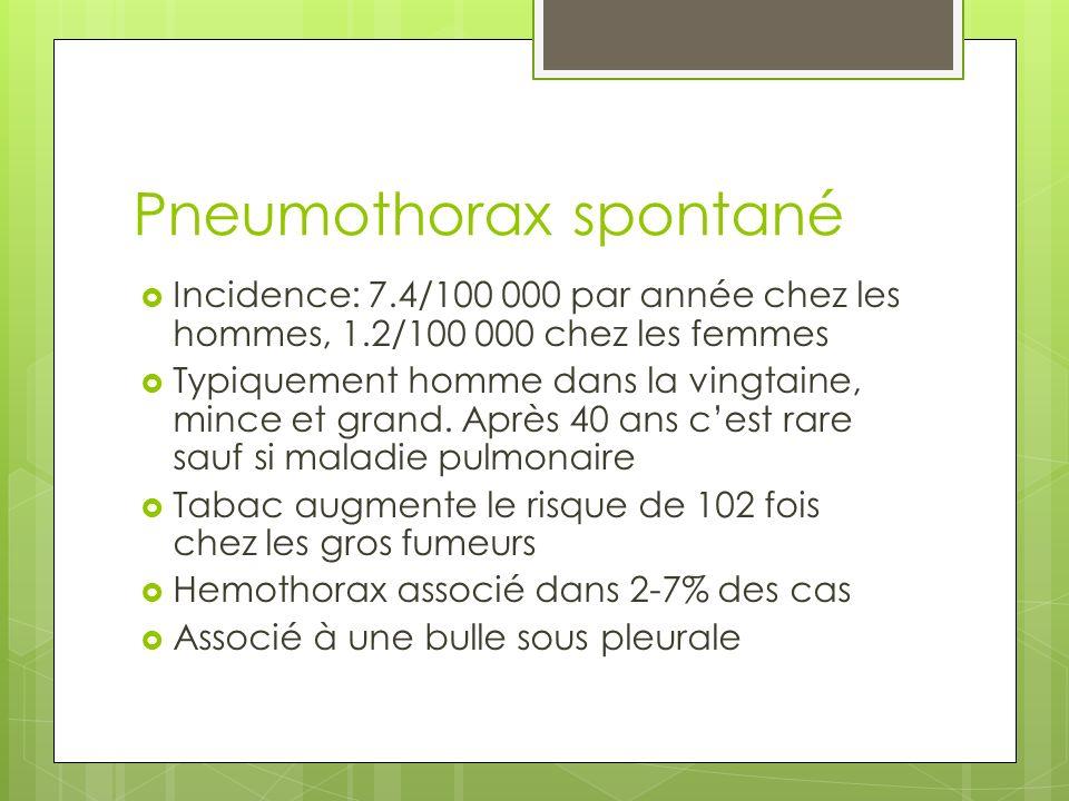 Mesurer le pneumothorax Mesurer de lapex thoracique à la coupole pulmonaire <2-3 cm petit pneumothorax Si il y a dehiscence complète du poumon: deshicence