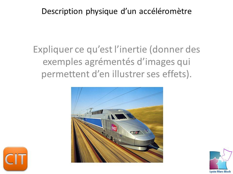 Description physique dun accéléromètre Expliquer le principe de fonctionnement de votre accéléromètre