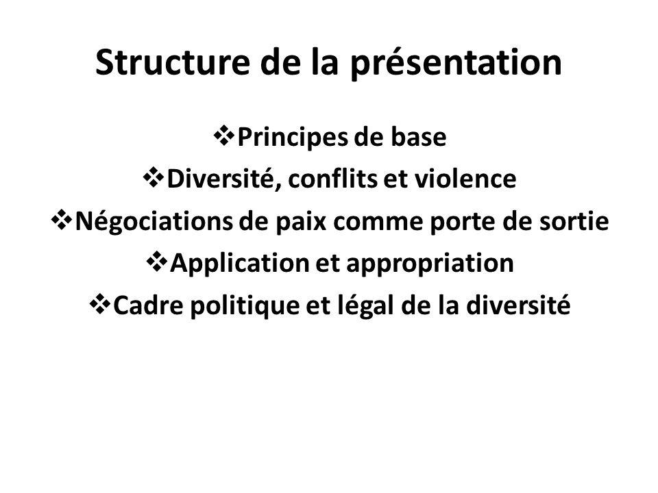 Structure de la présentation Principes de base Diversité, conflits et violence Négociations de paix comme porte de sortie Application et appropriation Cadre politique et légal de la diversité