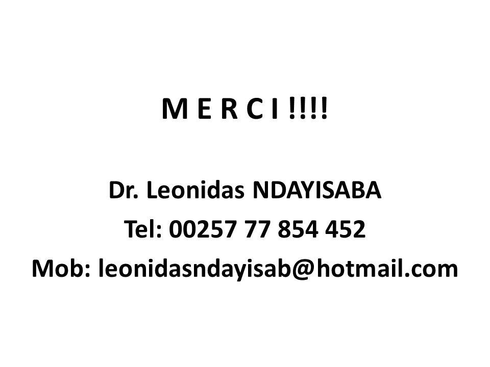 M E R C I !!!! Dr. Leonidas NDAYISABA Tel: 00257 77 854 452 Mob: leonidasndayisab@hotmail.com