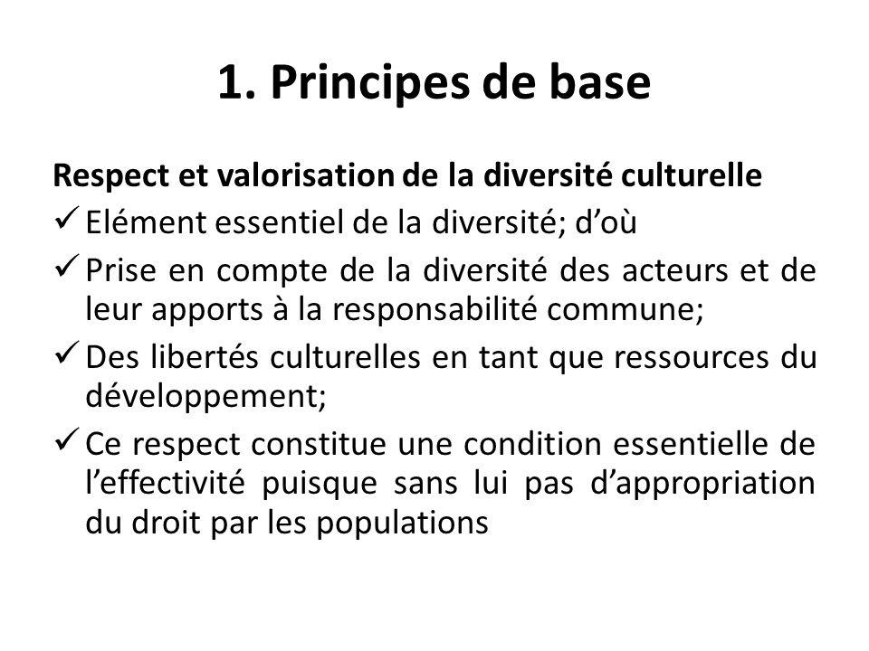 Principes de base Enjeux de la diversité Quand le droit ignore la réalité dans sa diversité, celle-ci ignore le droit; La valorisation des libertés et responsabilités culturelles dans leur diversité est le premier facteur de la sécurité humaine