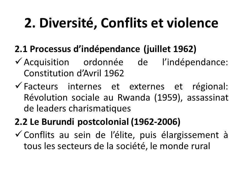 2. Diversité, Conflits et violence 2.1 Processus dindépendance (juillet 1962) Acquisition ordonnée de lindépendance: Constitution dAvril 1962 Facteurs