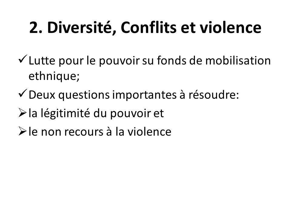 2. Diversité, Conflits et violence Lutte pour le pouvoir su fonds de mobilisation ethnique; Deux questions importantes à résoudre: la légitimité du po