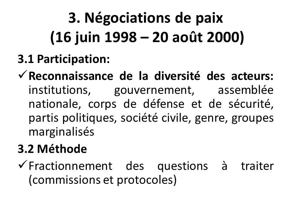3. Négociations de paix (16 juin 1998 – 20 août 2000) 3.1 Participation: Reconnaissance de la diversité des acteurs: institutions, gouvernement, assem