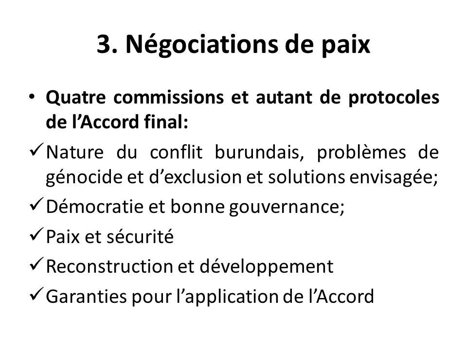 3. Négociations de paix Quatre commissions et autant de protocoles de lAccord final: Nature du conflit burundais, problèmes de génocide et dexclusion
