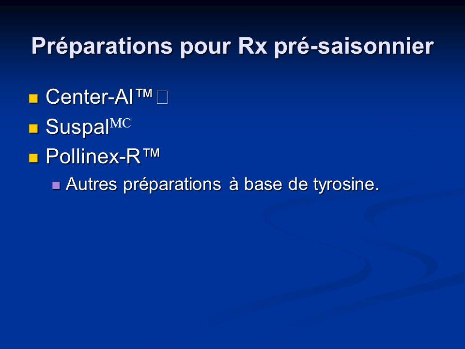 Préparations pour Rx pré-saisonnier Center-Al Center-Al Suspal Suspal MC Pollinex-R Pollinex-R Autres préparations à base de tyrosine. Autres préparat
