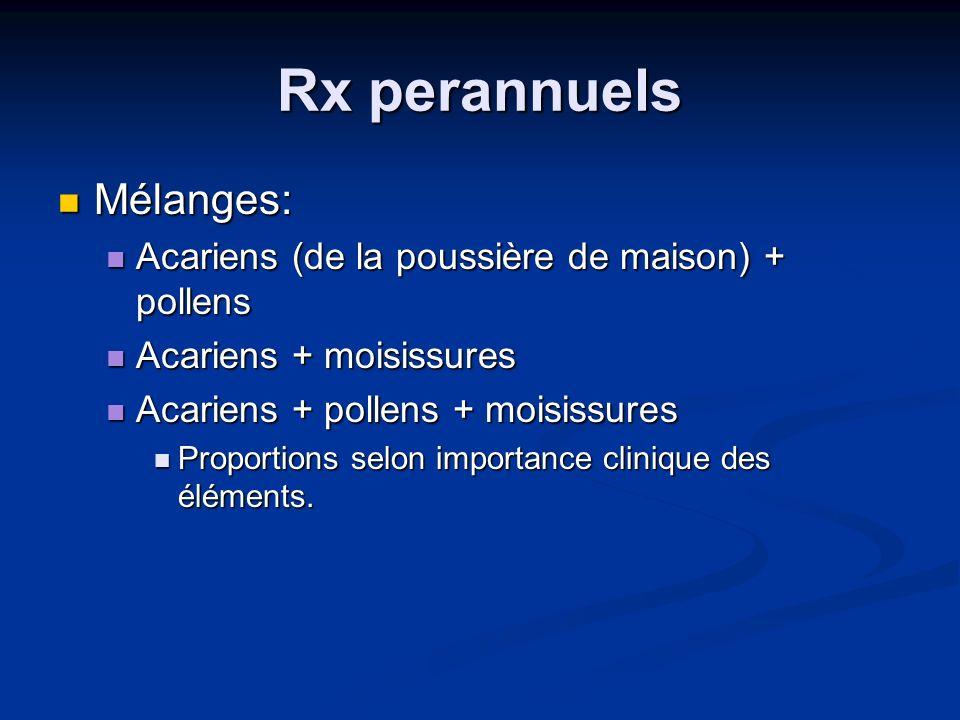 Rx perannuels Mélanges: Mélanges: Acariens (de la poussière de maison) + pollens Acariens (de la poussière de maison) + pollens Acariens + moisissures