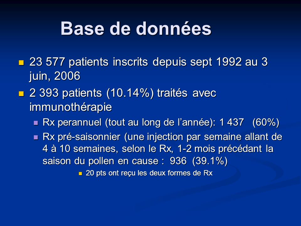 Efficacité de l immunothérapie Des 2 393 traités depuis 1992, Des 2 393 traités depuis 1992, 983 ont répondu à la question sur leffet du traitement, lorsquils ont reçu la lettre de rappel au sujet de la suite de leur traitement (perannuel ou pré-saisonnier): 983 ont répondu à la question sur leffet du traitement, lorsquils ont reçu la lettre de rappel au sujet de la suite de leur traitement (perannuel ou pré-saisonnier): Quel était leffet du traitement: excellent, très bon, bon, léger ou aucun .
