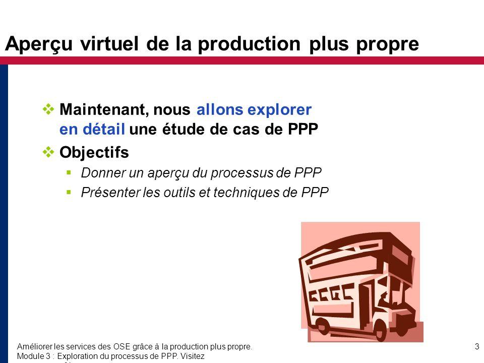 Améliorer les services des OSE grâce à la production plus propre.