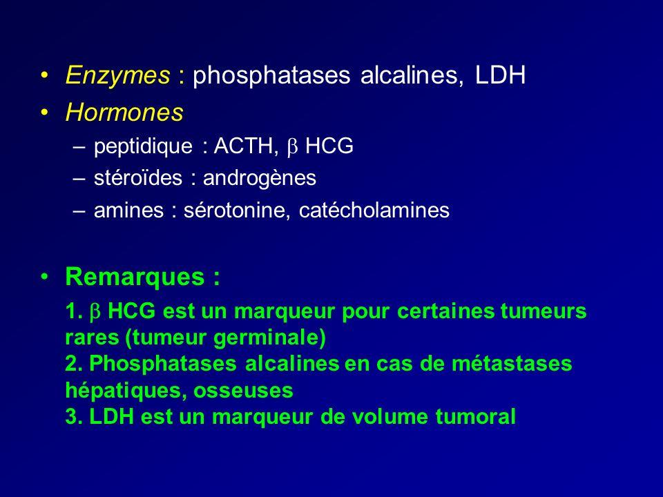 Enzymes : phosphatases alcalines, LDH Hormones –peptidique : ACTH, HCG –stéroïdes : androgènes –amines : sérotonine, catécholamines Remarques : 1. HCG