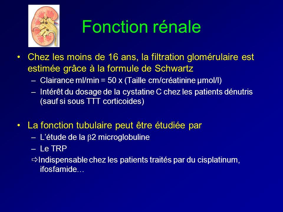 Fonction rénale Chez les moins de 16 ans, la filtration glomérulaire est estimée grâce à la formule de Schwartz –Clairance ml/min = 50 x (Taille cm/créatinine µmol/l) –Intérêt du dosage de la cystatine C chez les patients dénutris (sauf si sous TTT corticoides) La fonction tubulaire peut être étudiée par –Létude de la 2 microglobuline –Le TRP Indispensable chez les patients traités par du cisplatinum, ifosfamide…