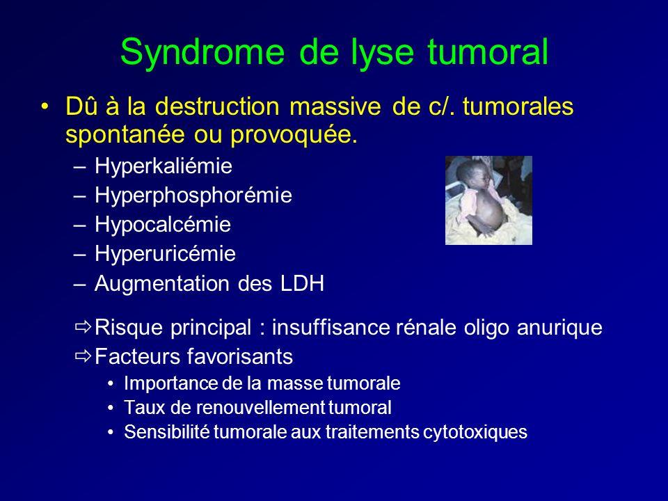 Syndrome de lyse tumoral Dû à la destruction massive de c/. tumorales spontanée ou provoquée. –Hyperkaliémie –Hyperphosphorémie –Hypocalcémie –Hyperur