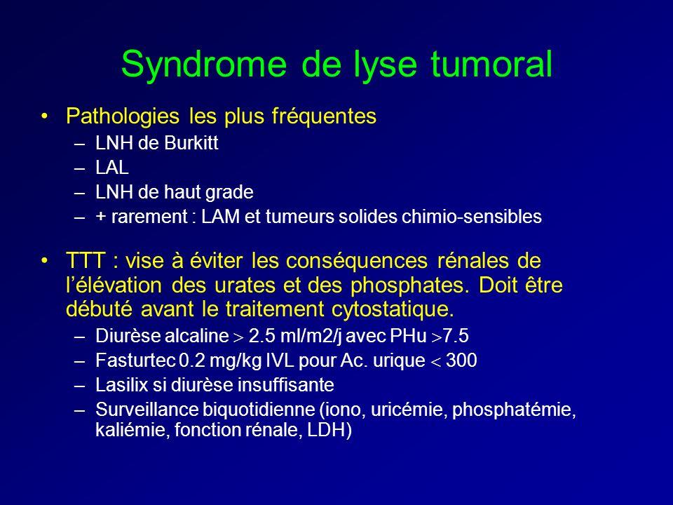 Syndrome de lyse tumoral Pathologies les plus fréquentes –LNH de Burkitt –LAL –LNH de haut grade –+ rarement : LAM et tumeurs solides chimio-sensibles TTT : vise à éviter les conséquences rénales de lélévation des urates et des phosphates.