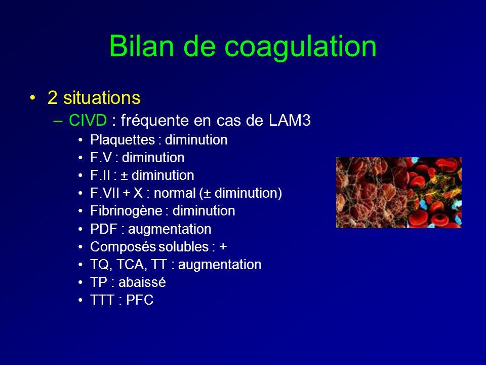 Bilan de coagulation 2 situations –CIVD : fréquente en cas de LAM3 Plaquettes : diminution F.V : diminution F.II : ± diminution F.VII + X : normal (± diminution) Fibrinogène : diminution PDF : augmentation Composés solubles : + TQ, TCA, TT : augmentation TP : abaissé TTT : PFC