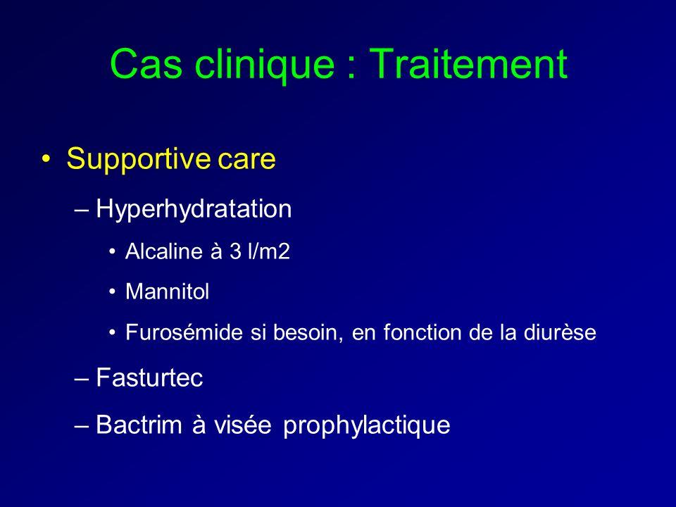 Cas clinique : Traitement Supportive care –Hyperhydratation Alcaline à 3 l/m2 Mannitol Furosémide si besoin, en fonction de la diurèse –Fasturtec –Bactrim à visée prophylactique